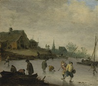 winter landscape with skaters on a frozen river by maerten fransz van der hulst