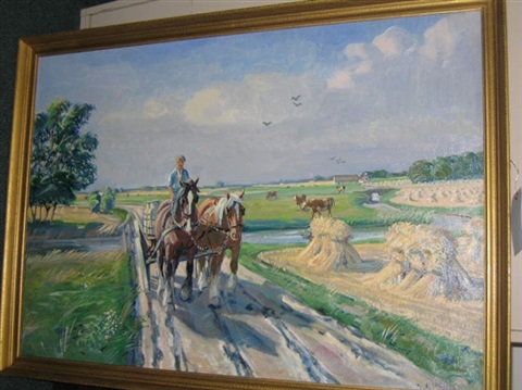 horse drawn wagon in summer by johs andersen