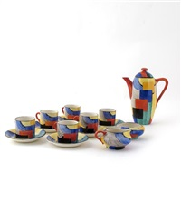 cubist coffee set (15 pieces) by suzan (ph) cooper