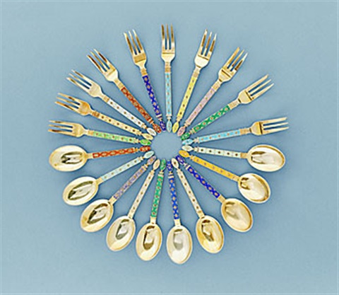 dessert cutlery 25 forks and 21 spoons by jacob tostrup