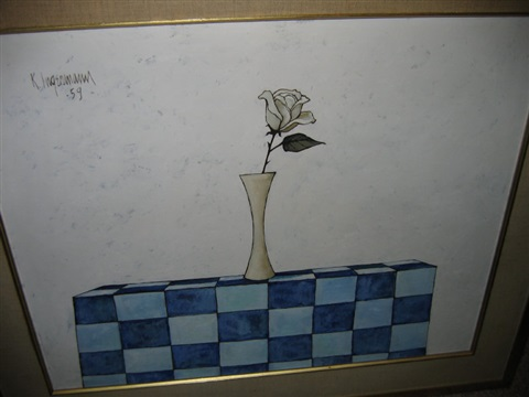 vase on checkered table cloth by keith ingerman