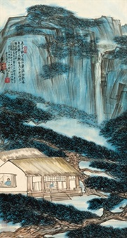 松间听雨 (listening to the rain among the pinehurst) by lin fengmian