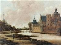 ansicht einer stadt mit wasserburg by jan meerhout