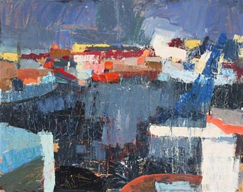 harbour scene in skagen by john lindsay little