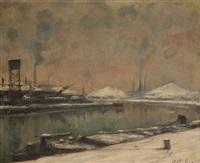 usines au bord de l'eau en hiver by pierre paulus