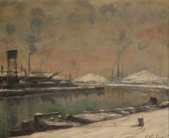 usines au bord de leau en hiver by pierre paulus