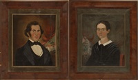 portraits of mr. and mrs. j.p. johnson. depicting mr. j.p. johnson and his second wife, the former susan pierce fitch (pair) by william matthew prior