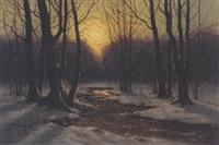 quelle im abendlichen winterwald by carl kenzler