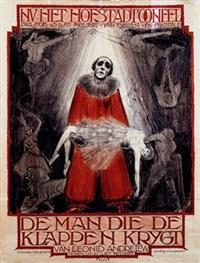 n.v. het hofstadtoneel de man die de klappen krijgtc (poster) by eduard veterman
