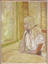 portrait of the artist's mother, seated, meditating while looking out a window by jerry van megert