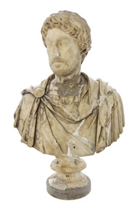 bust of a bearded roman gentleman in a toga by antique