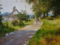 lane to tempsford mill, bedfordshire (+ stoke-on-the-meadow (study); 2 works) by john haskins