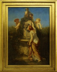 woman by a fountain with two putti by alphonse isambert