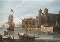 nördlicher hafen an einer kathedrale mit segelbooten, lastkähnen, kaufleuten und reisenden by jacobus storck