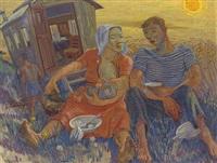 rastende landarbeiter vor getreidefeld by henk melgers