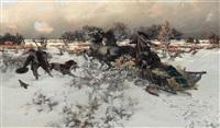 winterliche schlittenfahrt mit fasanenjagd by jaroslav friedrich julius vesin
