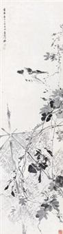 花鸟 镜框 水墨纸本 by deng fen