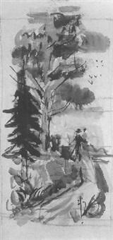 spazierendes paar auf einem waldweg by julius herburger
