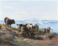 kühe bei der tränke by edouard-louis-auguste metton