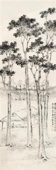 秋夜读书 (landscape) by dai benxiao