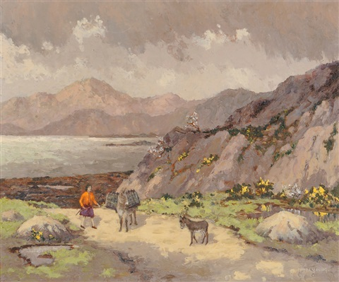 wicklow hills irish landscape with a figure and donkeys on a path by mabel young