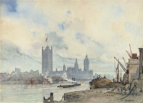river traffic by the palace at westminster by a.j. meyer