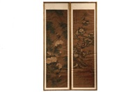 emperor kangxhi imperial scrolls on silk of birds on flowering branches by jiang tingxi