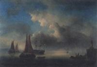 fischerboote und zweimaster an der hafenausfahrt by georges viard