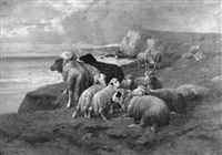 a shepherd and his flock by jules bathieu