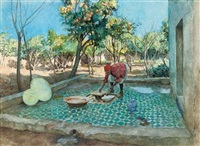 laying tiles by the orange grove by amedee forestier