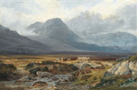 hügelige landschaft mit hirten und rindern by henry w. henley
