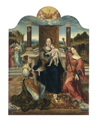 the virgin and child with the virtues of temperance and justice, and angels by bernaert (barend) van orley