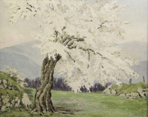 landscape with blossom tree by mabel young