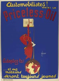 automobilistes! voici la. priceless-oil (poster) by h. de laurencin