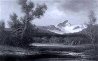 landscape with snowy mountain by hans-jörg wagner