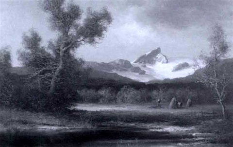 landscape with snowy mountain by hans jörg wagner