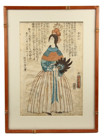 yokohama e western subject oban tate e from book sovereigns of the world depicting queen victoria of england by utagawa yoshitora
