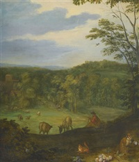 landscape with a monkey eating fruit, a squirrel and a shepherd watching his herd beyond by jan brueghel the younger