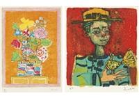 flowers in orange background (+ bird with boy; 2 works) by paul aïzpiri