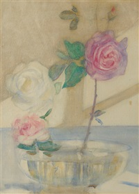 still life of roses in a glass bowl by mark senior
