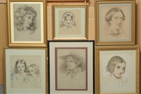 portrait of a girl, head and shoulders (study) (+ 5 others; 6 works) by sarah ellen weatherill