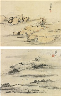 landscape (2 works) by liang yuwei