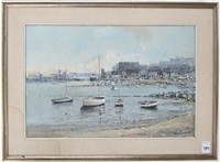 harbour with sailboats in the foreground and freight ships in the background by allan simpson