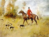 reiter mit hundemeute auf der jagd in herbstlicher landschaft by ede lengyel-reinfuss