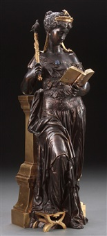 classical maiden reading book and holding scepter with bird finial by eutrope bouret