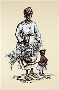 basket seller with children by alice scott