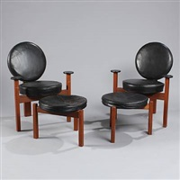 armchairs and two matching stools (set of 4) by bent møller jepsen