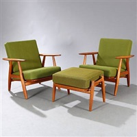ge 240 easy chairs and stool (set of 3) by hans j. wegner