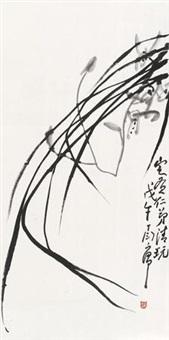 墨兰 立轴 水墨纸本 by ding yanyong
