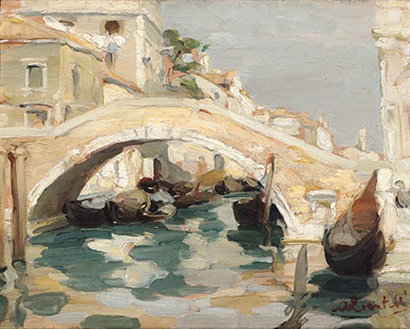 venezia kanalansicht mit steinerner bogenbrücke an der piazza san giovanni e paolo im sonnigen licht by armando locatelli